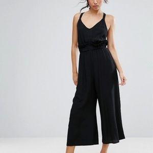 Black jumpsuit wide leg culottes